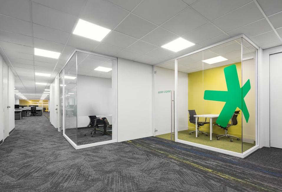Demountable glass walls in modern office