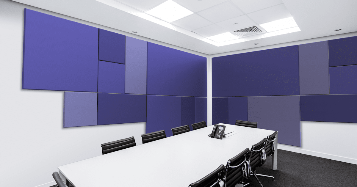 Purple acoustic wall panels lining a conference room wall