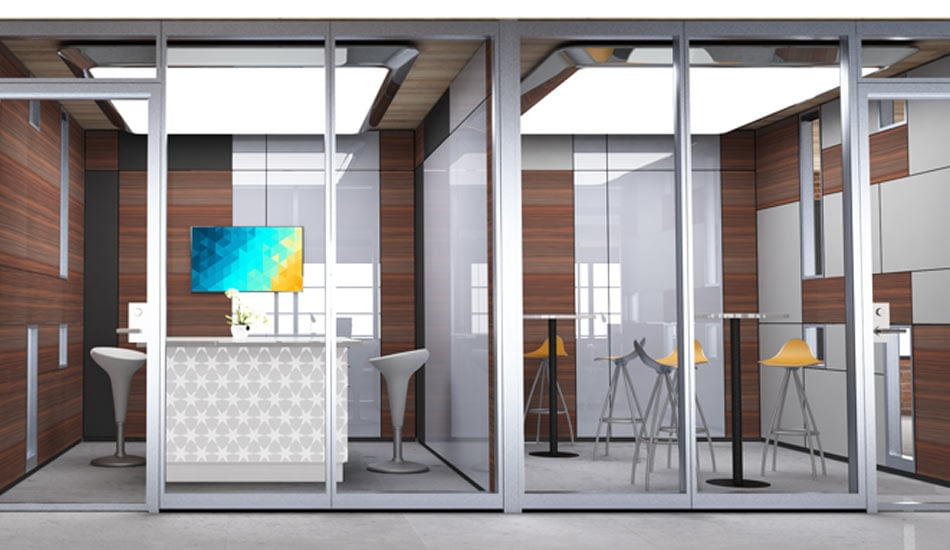 Offices made with configurable walls and acoustic glass wall panels