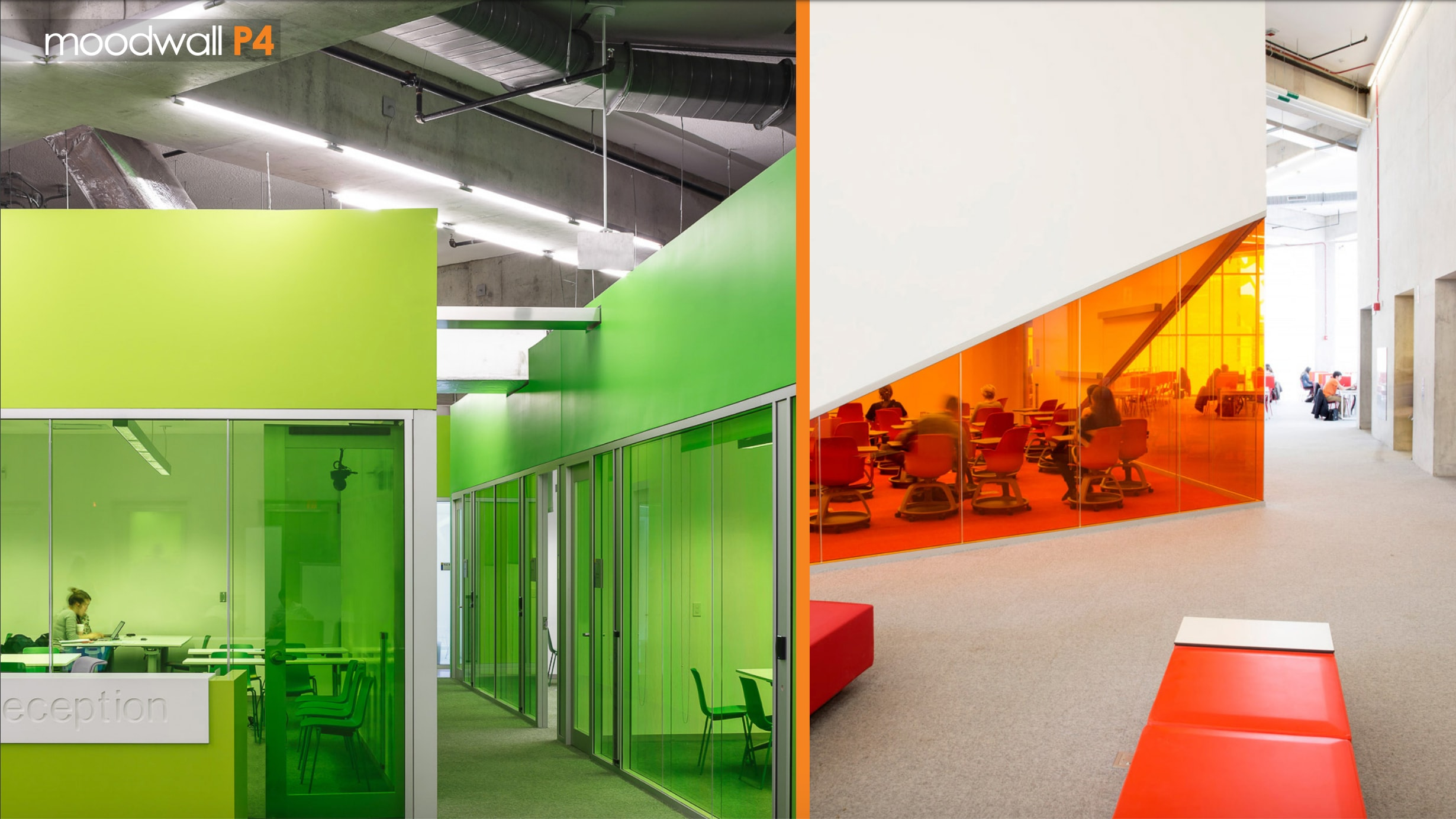 A side-by-side image of two floors in the Ryerson Learning Centre in Toronto with green and red architectural glass walls.