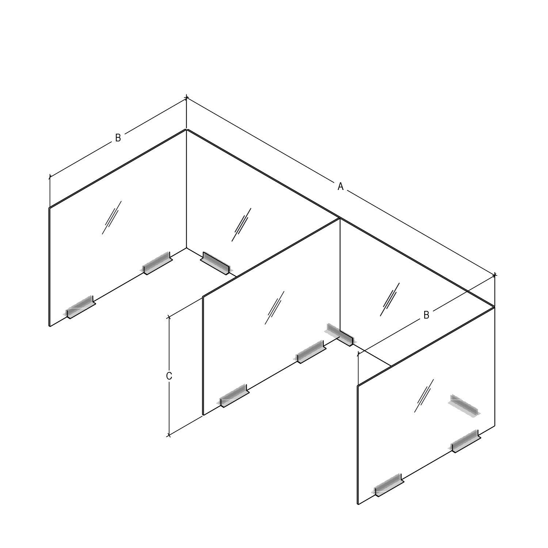E-shaped plastic desk partition