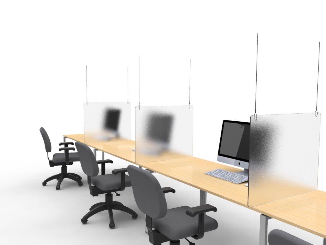 Suspended desk divider for social distancing