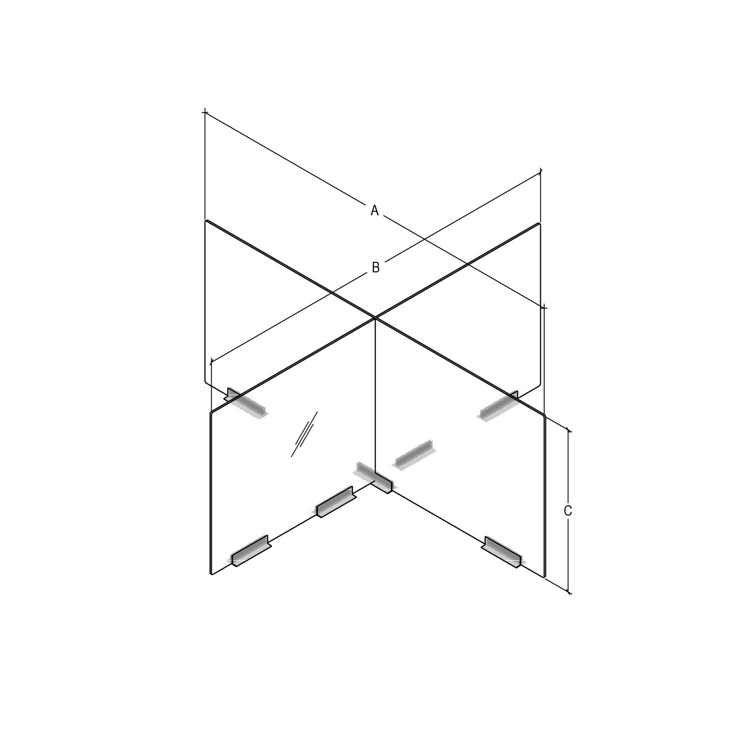 X-shaped table-mounted desk divider