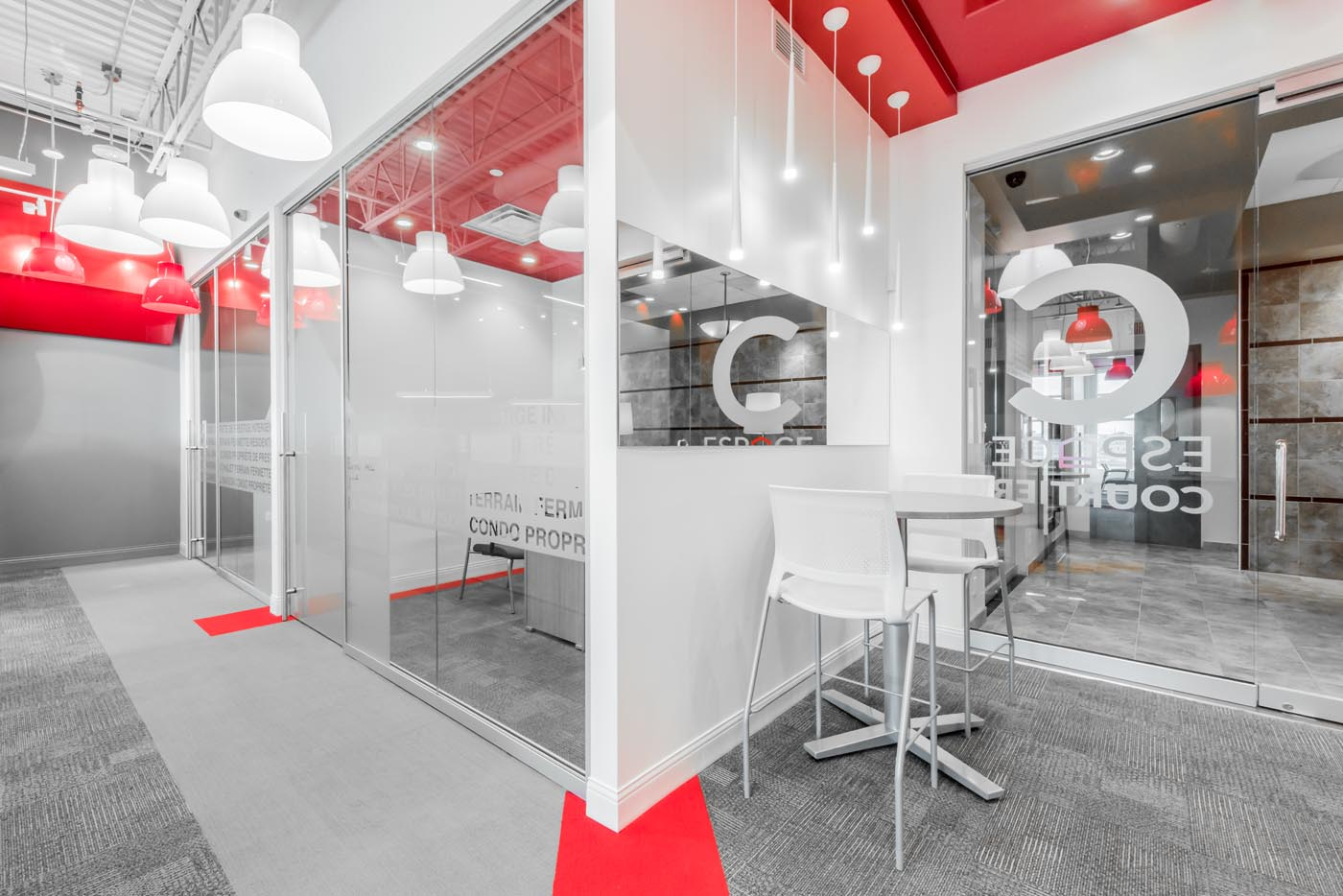An real estate office with meeting rooms constructed with demountable-wall